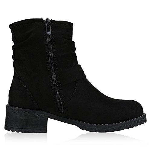 napoli-fashion Damen Stiefeletten Stiefel Biker Boots Nieten Warm Gefüttert Schuhe Jennika Schwarz Negro