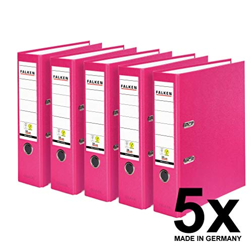Falken 5er Pack PP-Color Kunststoff-Ordner. Das Original - Made in Germany. 8 cm breit DIN A4 Pastell-Farbe pink Vegan Ringordner Aktenordner Briefordner Büroordner Plastikordner Schlitzordner