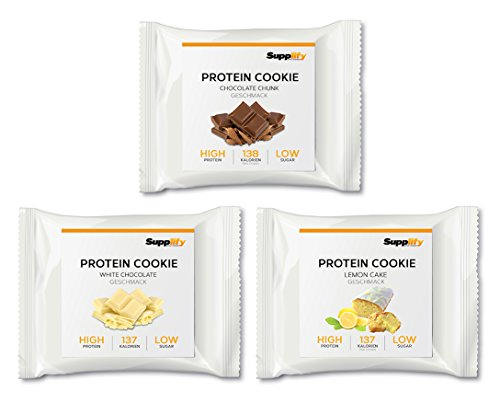 Bar Banane-nuss (Supplify Protein Soft Cookie- Fitness Snack aus Whey Eiweiß Pulver- Mix-Box 6 Kekse á 40g - Testpaket aus Chocolate Chunk, White Chocolate, Lemon Cake & Weiße Schokolade Kokos)