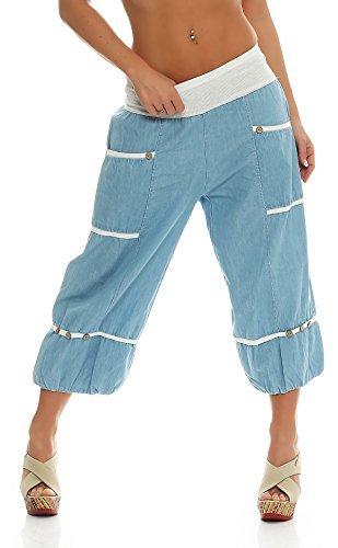 ZARMEXX Femmes Sarouel sarouel Pantalon de sport Yoga Coton Pantalon jeans Taille Unique - Hellblau-7/8, Einheitsgröße: Gr. 38-46