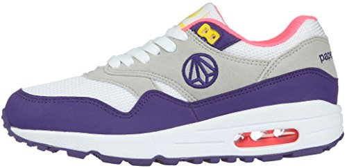 Unisex Fashion 1317 Paperplanes-Coussin d'Air Essential Running Baskets Blanc - White Gray Purple