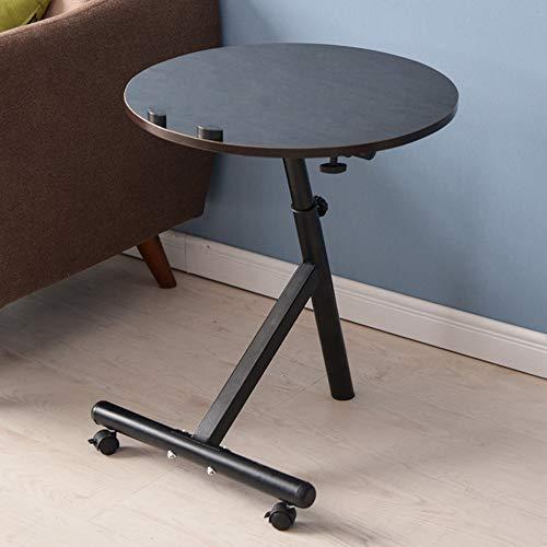 Computertische FEI Seitentabellen-Laptop-Schreibtisch-justierbarer tragbarer Stand-Laptop-Tabellen-runde Ecktisch 4 Farben (Farbe : Black Walnut)