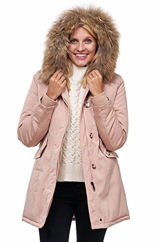 Elara Damen Winterparka | Jacke mit Echt Pelz / Echt Fell Kapuze | Designer Damenjacke | Gefütterte Outdoor Mantel | chunkyrayan, Größe 42, Farbe Pink