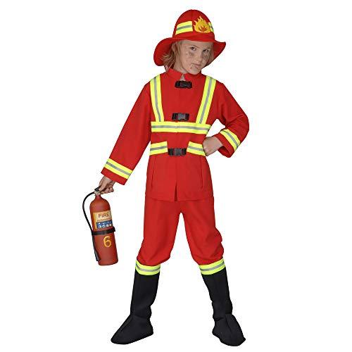 Kostüm Feuerwehrmann Hat - Widmann 55707 - Kinderkostüm Feuerwehrmann, Kasack, Hose, Stiefelbedeckung und leuchtender Helm, Größe 140