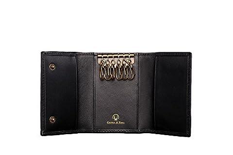 Cronus & Rhea® | Luxus Schlüsseletui aus exklusivem Leder (Janus) | Schlüsselmäppchen - Schlüsselanhänger | Echtleder | Mit eleganter Geschenkbox | Herren - Damen (Schwarz)