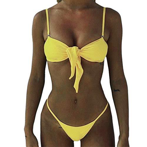 IZHH Bikini Bowknot Bikini Set Push-Up brasilianische Zweiteilige Badebekleidung Beachwear-Badeanzug Gurt Brust geknoteter Bikini-Badeanzug(Gelb,Medium)