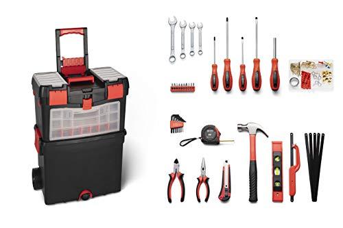 WOLFGANG® 40 Teile Premium Werkzeugwagen gefüllt | Rollwagen komplett | Universal Werkzeugkasten gefüllt mit Werkzeug | Werkstatt | Schraubenschlüssel Set, Schrauberdreher, Hammer, Zangen etc.