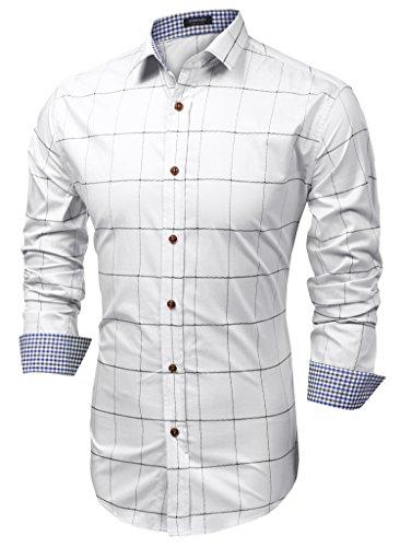 Coofandy camicia casual uomo in cotone a maniche lunghe a quadri bianco 3xl