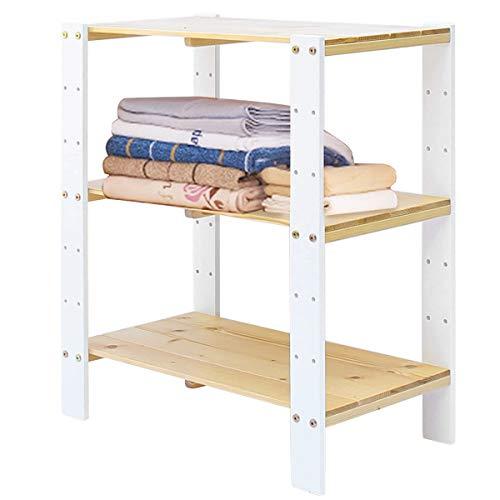 Vlush Standregal, Regal Holz, Buche 3-Stöckiges, Regal verstellbar, Für Küche, Schlafzimmer, Wohnzimmer, Badezimmer, ca.61 * 31 * 71 cm (Weiß+Natur)