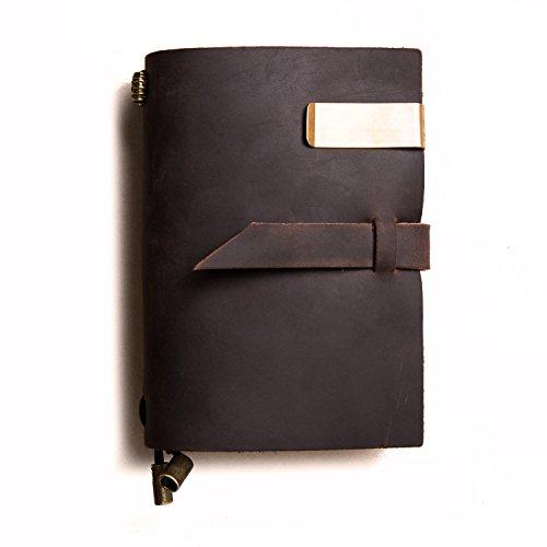 IPBEN Leder Tagebuch Mit Schloss Teenager für erwachsene Vintage Notizbuch Notizblöcke , Leeren Reisetagebuch, Beste Kunst Einband Zu Schreiben In, Kleine Größe Pocket Size 13cm × 10cm dunkelbraun