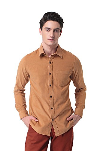 Pau1Hami1ton P-10 Herren Baumwolle Langarm Cord Hemd Slim Fit Long Sleeve Freizeit Cotton Corduroy Dress Shirt Gelb