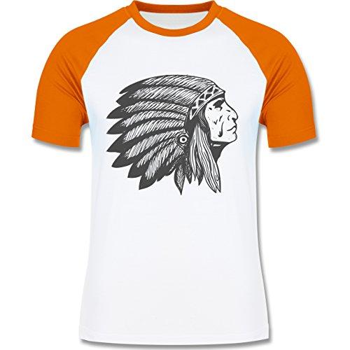 Shirtracer Boheme Look - Indianer Häuptling Handzeichnung - Herren Baseball Shirt Weiß/Orange