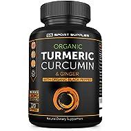 Advanced Organic Turmeric Curcumin & Ginger Capsules 1380mg - Turmeric Capsules High Strength with Organic Black Pepper Supplement - 120 Organic Capsules -1380mg - UK Made