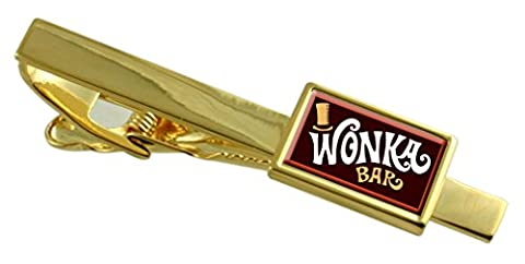 Wonker Chocolate Bar Gold-tone Tie Clip Select Gift Pouch