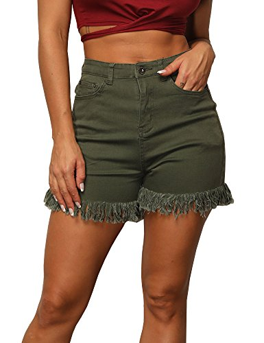 Uoohal Women's Destroyed Ripped Tassel Denim Shorts High Waisted Stretch Jeans Shorts