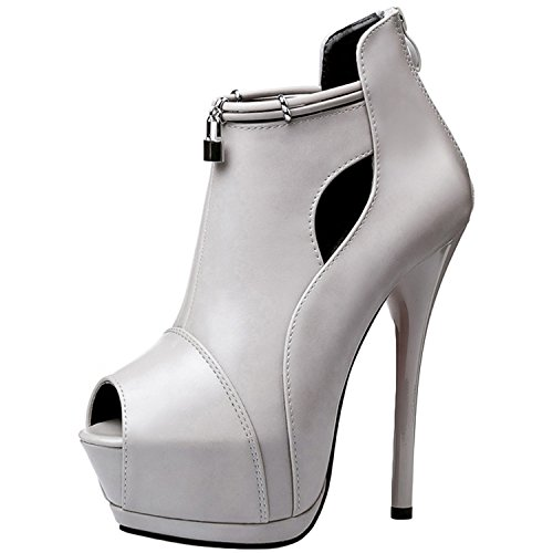 Oasap Women's Peep Toe Platform High Stiletto Heels Back Zip Pumps Light Grey