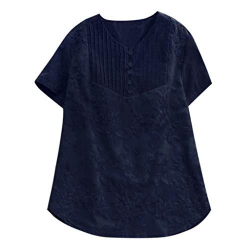 Kostüm Marine Cheerleader Blau - ESAILQ Frau LäSsige Lose Feste Oansatz Shirt Kurzarm Baumwolle Stickerei Top(XXXX-Large,Marine)