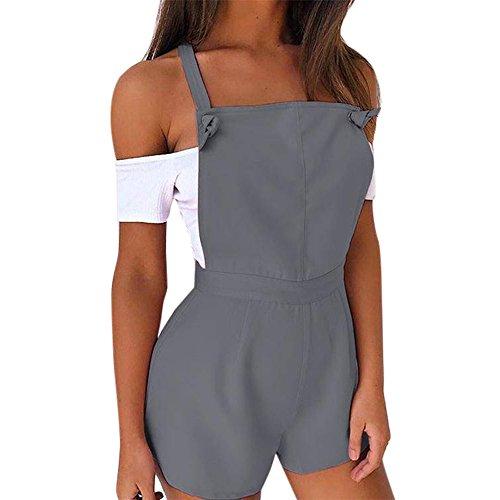 VEMOW Heißer Verkauf LatzhoseCute Design Damen Frauen Zip Latzhose Fit Solide Strampler Hohe Taille Casual Sport Täglich Overall Playsuit Jumpsuit Shorts Hosen (Grau, XL) (Twin-top-zip)