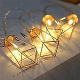 LY-JFSZ Lichterketten,Diamant Form Schlafzimmer Beleuchtung Weihnachten Home Party Hochzeit Terrasse Garten Außerhalb Dekoration 4 Mt 40LED Batteriebetrieben