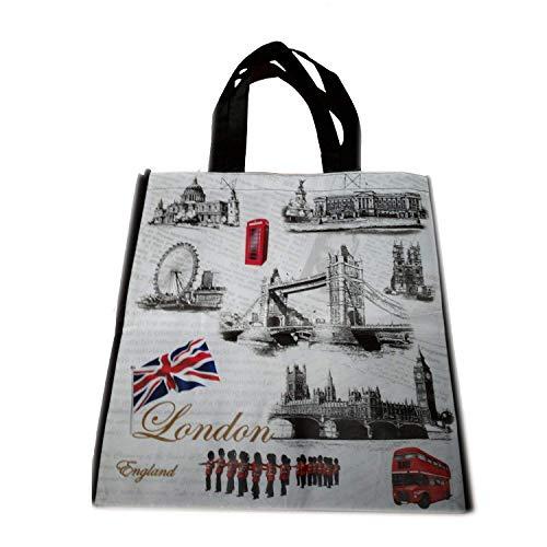 Tragetasche mit London-Motiven, Einkaufstasche, wiederverwendbar, als Souvenir, atemberaubende London-Tragetasche, Sammlerstück und amüsant, Reisetasche/Tragetasche
