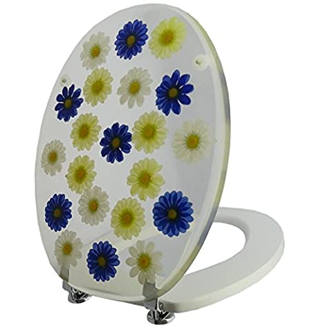 Toilettensitz / Wc Deckel / Toilettendeckel / Klobrille Top Qualität mit Blumen in blau, gelb und weiss