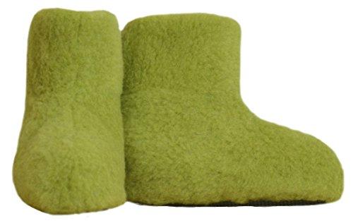 SamWo,Fußwärmer Hausschuhe aus 100% Schafwolle, Größe: 35-48 Green Pea
