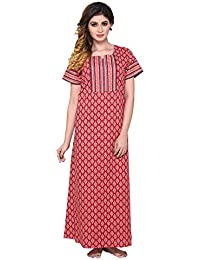pdpm Women s 100% Soft Cotton Nighty Nightwear Night Dress Sleepwear Gown c1474e90b