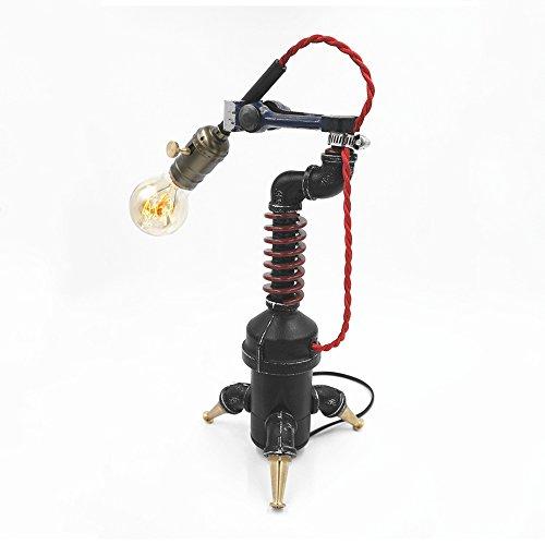 Pointhx Tischlampe Steampunk Wasserpfeife Tischleuchte Klassische Einstellbare Mechanische Schwinge Edison Metall Schreibtischlampe für Nachttisch Studie Wohnzimmer Lesen Abendessen (Dimmen Schalter) (Keramik-abendessen)