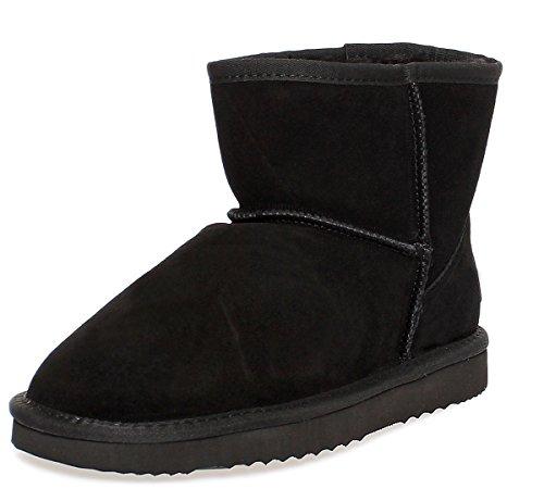 Lammfell-leder-mini (SKUTARI Leder Boots - Damen Winterstiefel Gefüttert Bow Schneestiefel (37, Black))