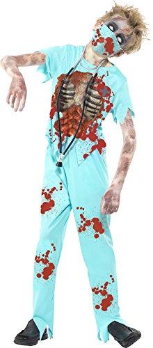 Smiffys, Kinder Jungen Zombie Chirurg Kostüm, Hose, Bedrucktes Oberteil, Maske und Stethoskop, Größe: L, (Einfach Kostüm Zombie)