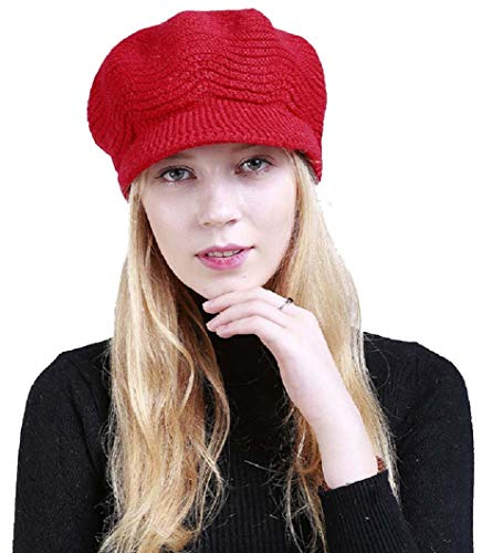 heekpek Wintermütze Winter Damen Plus Samt Strickmütze Beret Hut Casual Dicke Warme Mützen Winter einfarbig Plus Samt Mode warme Damen Caps Gestrickte weiche Linie Hut (rot)