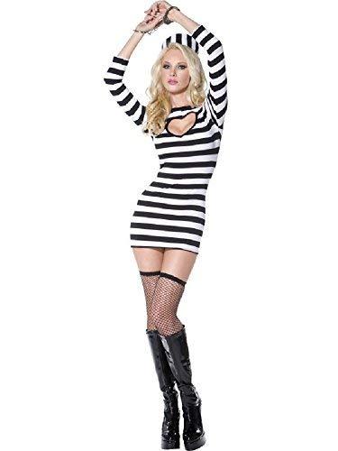 Damen Sexy Gefangener Polizisten & Räuber Party Fever Kostüm Kleid Outfit UK 8-18 - Schwarz/weiß, UK 12-14, (Häftling Kleid Kostüm)