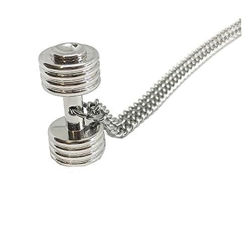 GOOD.designs Fitness-Halskette mit Hantel Anhänger in Silber, Bodybuilding-Lifestyle / Damen und Herren Schmuck