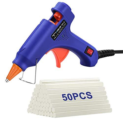 TOPELEK Mini Pistola de Silicona Caliente con 50 PSC Barras Pegamento Alta Temperatura, Kit Pistolas Encolar para Manualidades Artesanía de...