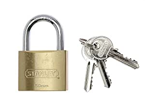 Stanley Solid Brass Standard Shackle Padlock - 50mm