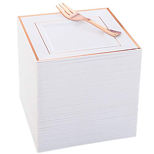 WDF 102pcs Silber Kunststoffplatten-Einweg-Kunststoff-Platten mit Silber RIM- Lace Design Kunststoff Hochzeit Teller Inklusive 51Plastic Dinner Plates 10.25Inc 86Square Platten + 86 Gabeln Rose Gold