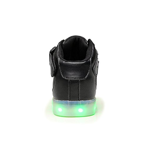 Warmhouse LED Unisex Schuhe 7 Farbe USB Aufladen Leuchtend Sportschuhe High-Top Sneaker Turnschuhe für Kinder Erwachsene Damen Herren Schwarz