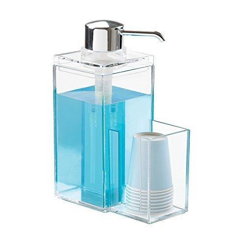 Einweg-arbeitsplatte (mDesign Moderner Kunststoff-Mundwasserpumpen-Caddy und Einweg-Becherhalter, kompakter Aufbewahrungs-Organizer für Badezimmer-Waschtisch, Arbeitsplatte, Schrank, inkl. 8 Pappbechern, transparent/Chrom)