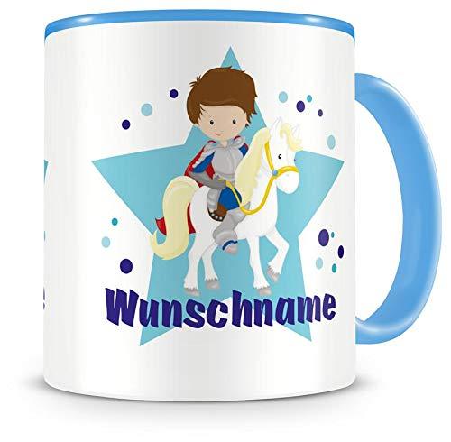 Samunshi® Kinder-Tasse mit Namen und Ritter als Motiv Bild Kaffeetasse Teetasse Becher Kakaotasse