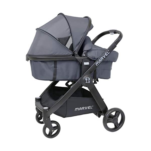 iSafe Marvel 2in1 Complete Pram System Pushchair and Carseat - Charcoal Black iSafe  2