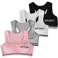 De feuilles Lot de 4 Brassière de Sport Soutien-Gorge sans Armature Yoga Fitness Gym Jogging Course Extra Douce et Extensible