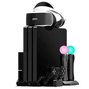 Fisound PS4 Game Stand Charger & Vertikaler Stand Multi Ladestation Limitierte Auflage, Lüfter Kühler, Game Storage, PSVR Headset-Halter für PS4 / Slim / Pro Konsole / PSVR1 & 2