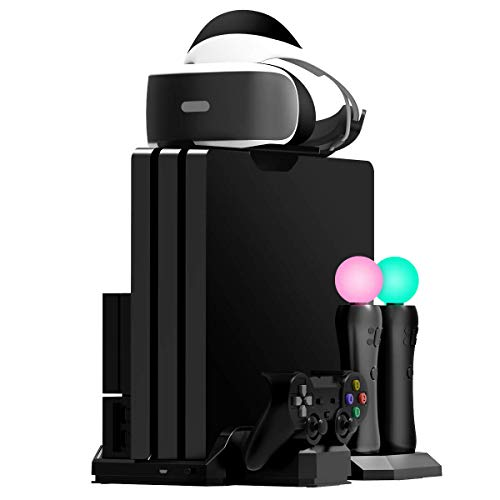 Fisound PS4 Vertical Stand Multi Stand Stazione di ricarica, Cooling Fan Cooler, Storage Game, PSVR Headset Holder per PS4 / Slim / Pro Console / PSVR1 e 2