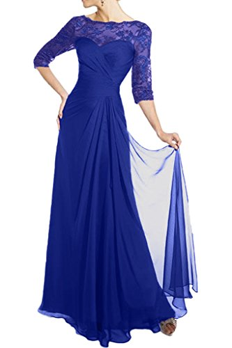 La_Marie Braut Glamour Spitze Langarm Chiffon Brautmutter Abendkleider Partykleider Formale Tanzenkleider Neuheit Royal Blau