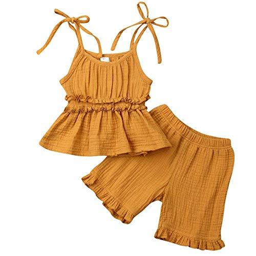 2 Stück Kleinkind Kleidung Baby Mädchen Ärmellos Gekräuselte Strampler Kleinkinder Spielanzug T-Shirt Tops + Kurze Hosen Outfits Set -