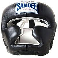 Sandee Muay Thai Cuero Negro Protector de Cabeza - Negro, L