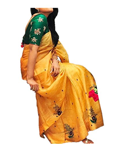 Surat4Fashion Silk Saree With Blouse Piece (_Yellow_Free Size)