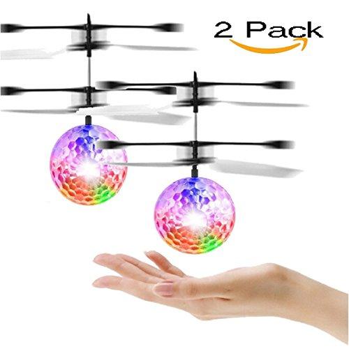 (MMilelo RC Fliegender Ball Fliegende Spielzeug Fliegende Infrarot Induktionssteuerung Flying Toy Flying Puppe Interaktives Spielzeug Geschenk für Kinder und Erwachsene mit USB Charging Station (2 Pack))