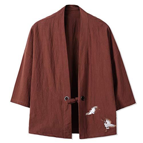 Mirecoo Herren Baumwolle Haori V-Kragen Kimono-Jacke, Kaffeebraun, XXL -