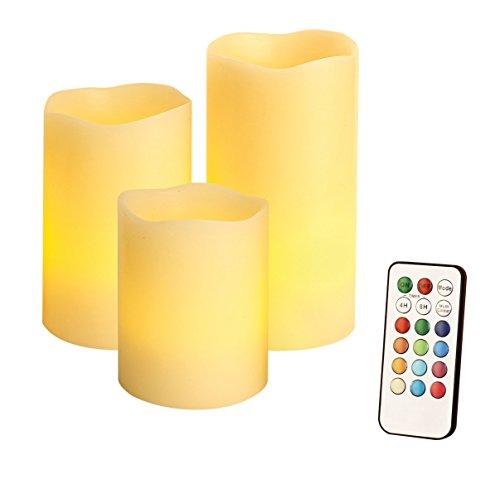Juego de velas led (Cera Real, 3tlg. con mando a distancia